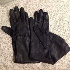 Ladies long black leather gloves